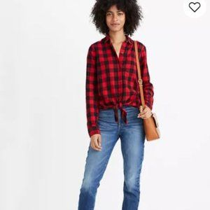 Madewell black red check tie-front cotton shirt M